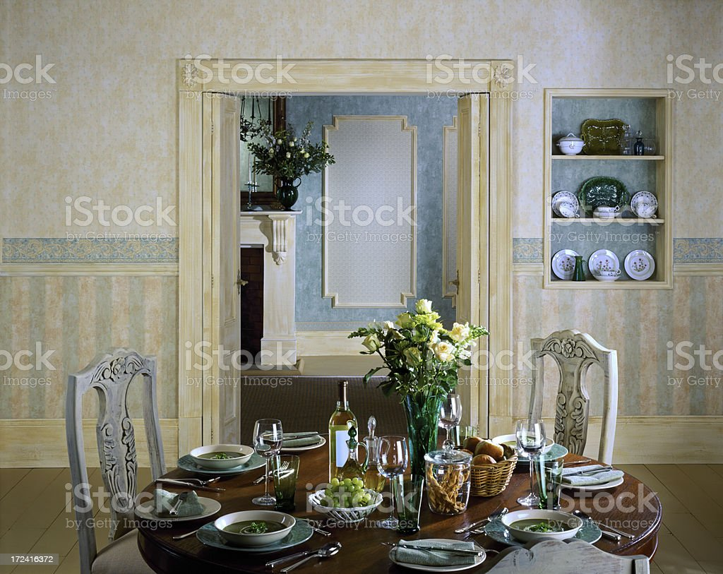 Interior of dining room set up for dinner royalty-free stock photo