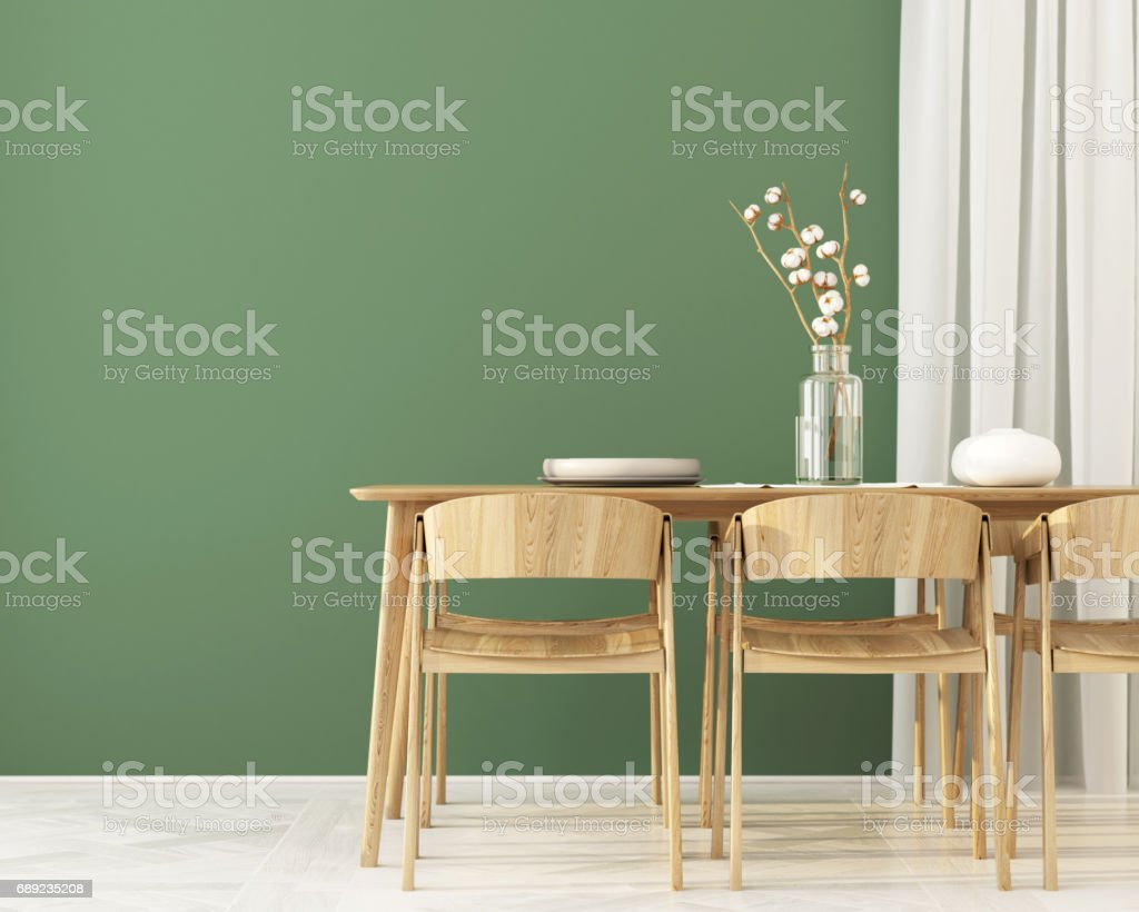 Interior of  Dining room with green wall