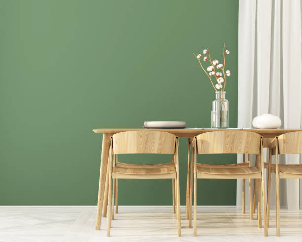 Interior of  Dining room with green wall stock photo