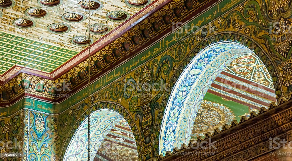 Interior of Dome on the Rock. Jerusalem, Israel. stock photo