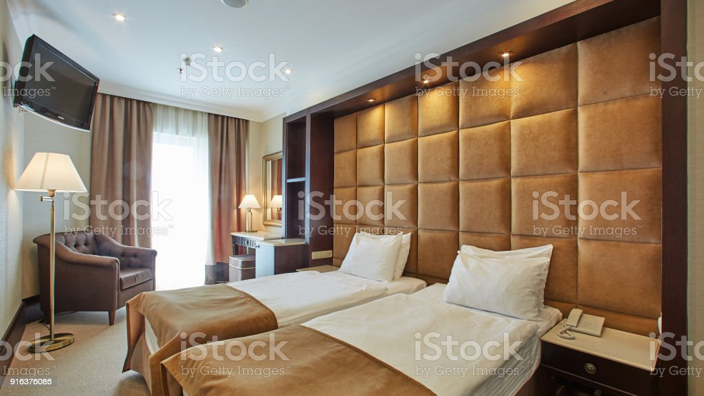 interior of double bed room stock photo