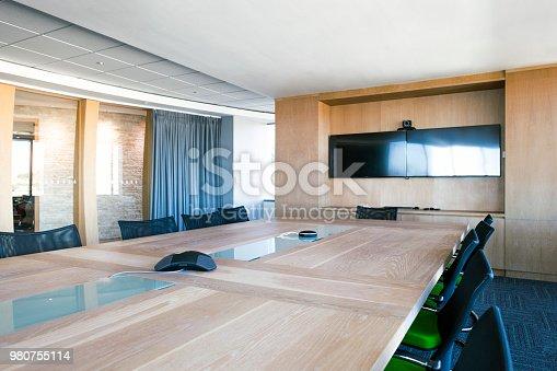1147023758 istock photo Interior of elegant board room. 980755114
