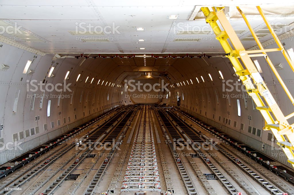 Interior of empty cargo aircraft stock photo