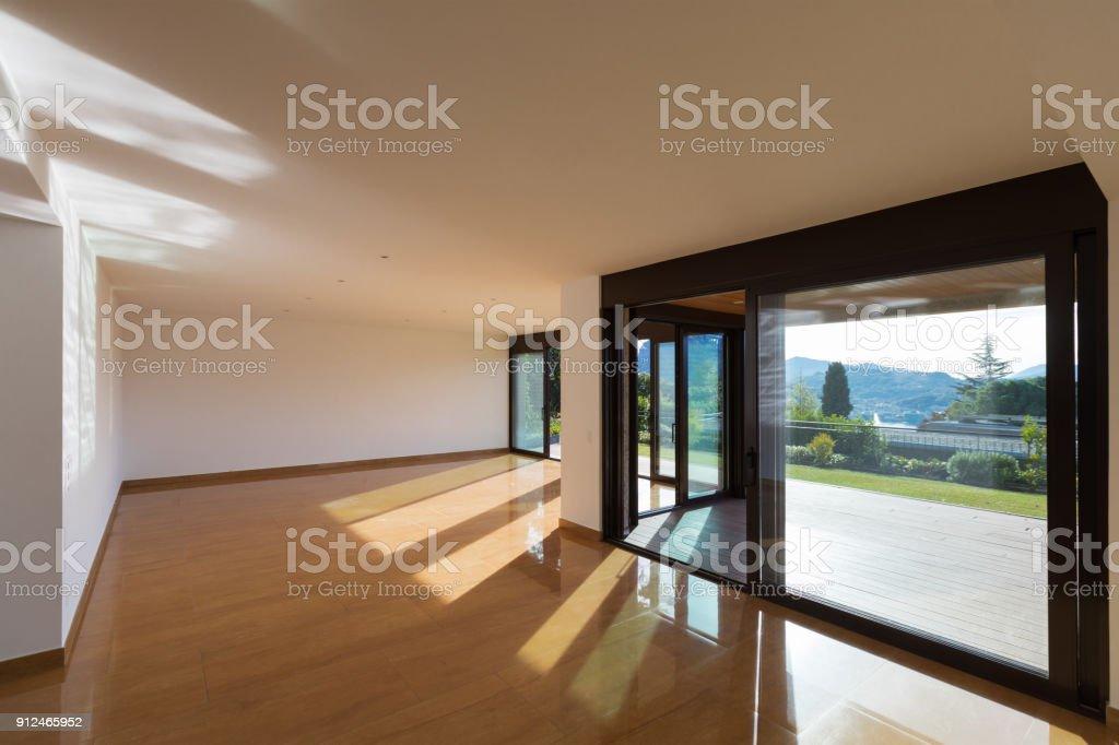 Interior of empty modern apartement, parquet floor stock photo