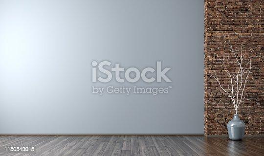 610958498istockphoto Interior of empty room background 3d render 1150543015
