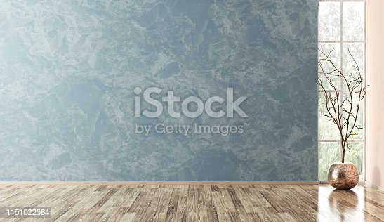 istock Interior of empty room background 3d render 1151022564