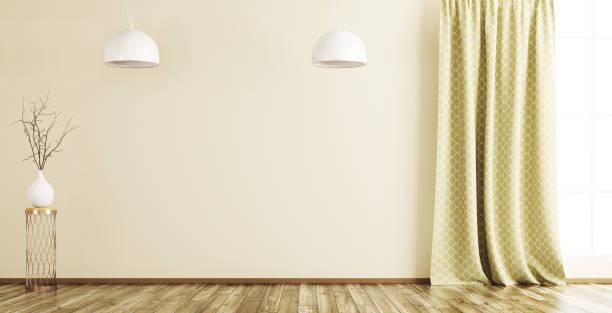 innere des leeren raumes hintergrund 3d render - oliven wohnzimmer stock-fotos und bilder