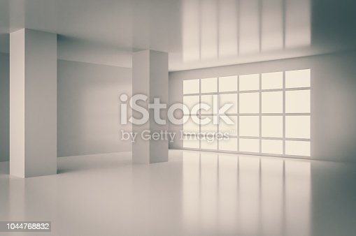 Interior of empty room with big window. 3D rendered illustration.