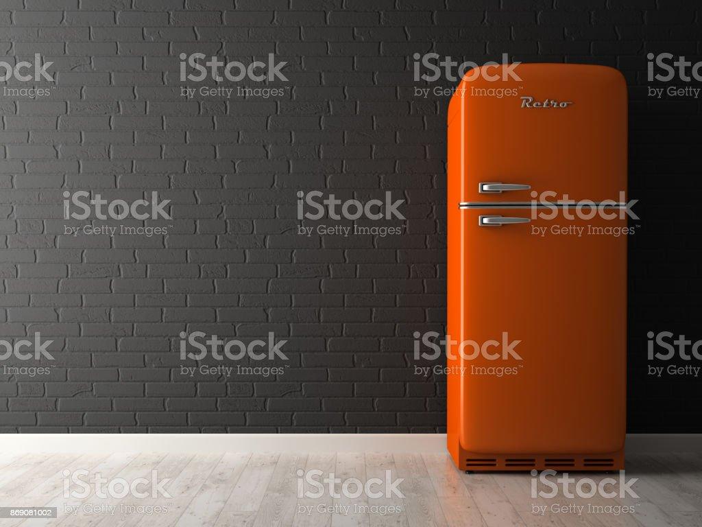 Retro Kühlschrank American Style : Innere des leeren raum mit kühlschrank 3drendering stockfoto und