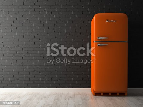 istock Interior of empty room with fridge 3D rendering 869081002