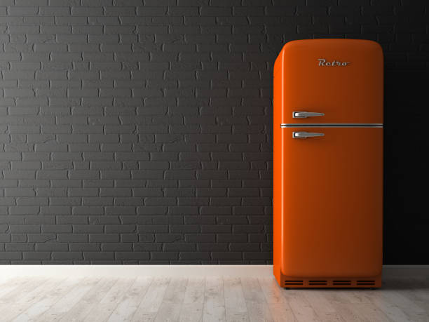 innere des leeren raum mit kühlschrank 3d-rendering - geschlossene küchen stock-fotos und bilder