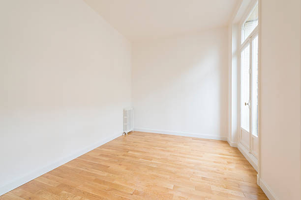interior of empty room with parquet floor ストックフォト
