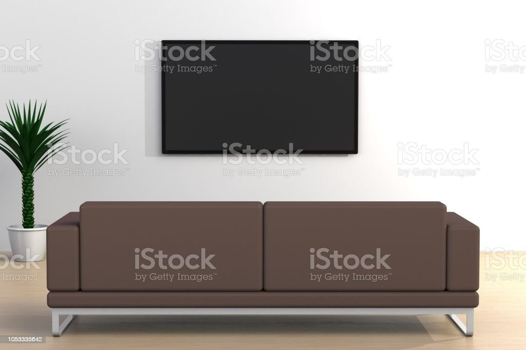 Innere Leere Zimmer Mit Tv Und Sofa Wohnzimmer Ledtv Auf ...