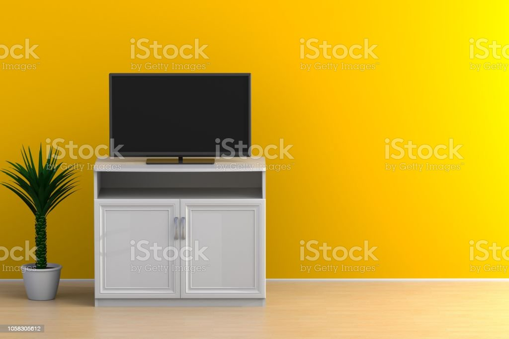 Interior Of Empty Room With Tv Living Room Led Tv On Yellow Wall