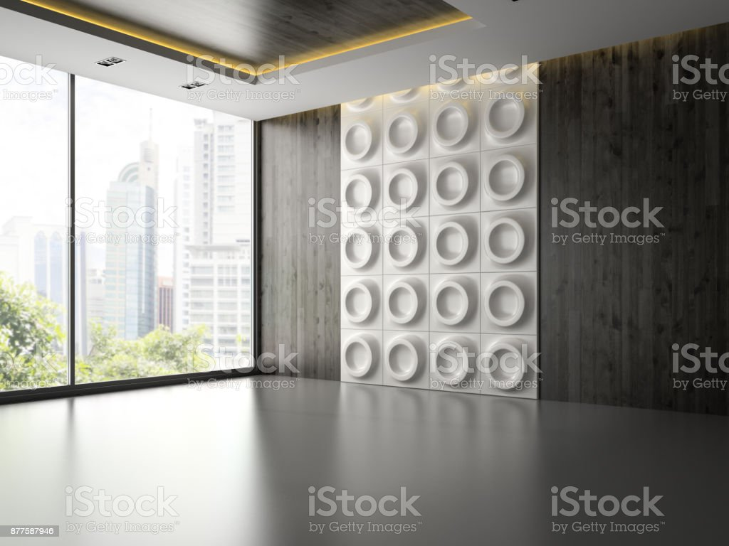 Interior of empty room with wall panel 3D rendering 2 stock photo