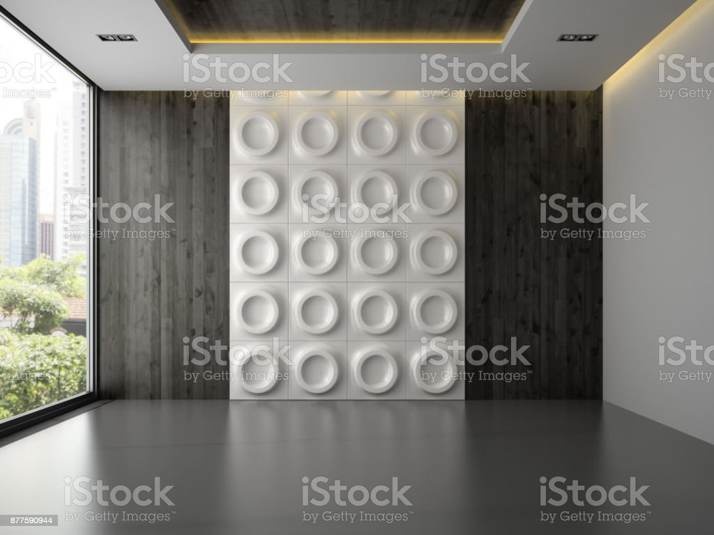 Interior of empty room with wall panel 3D rendering 3 stock photo
