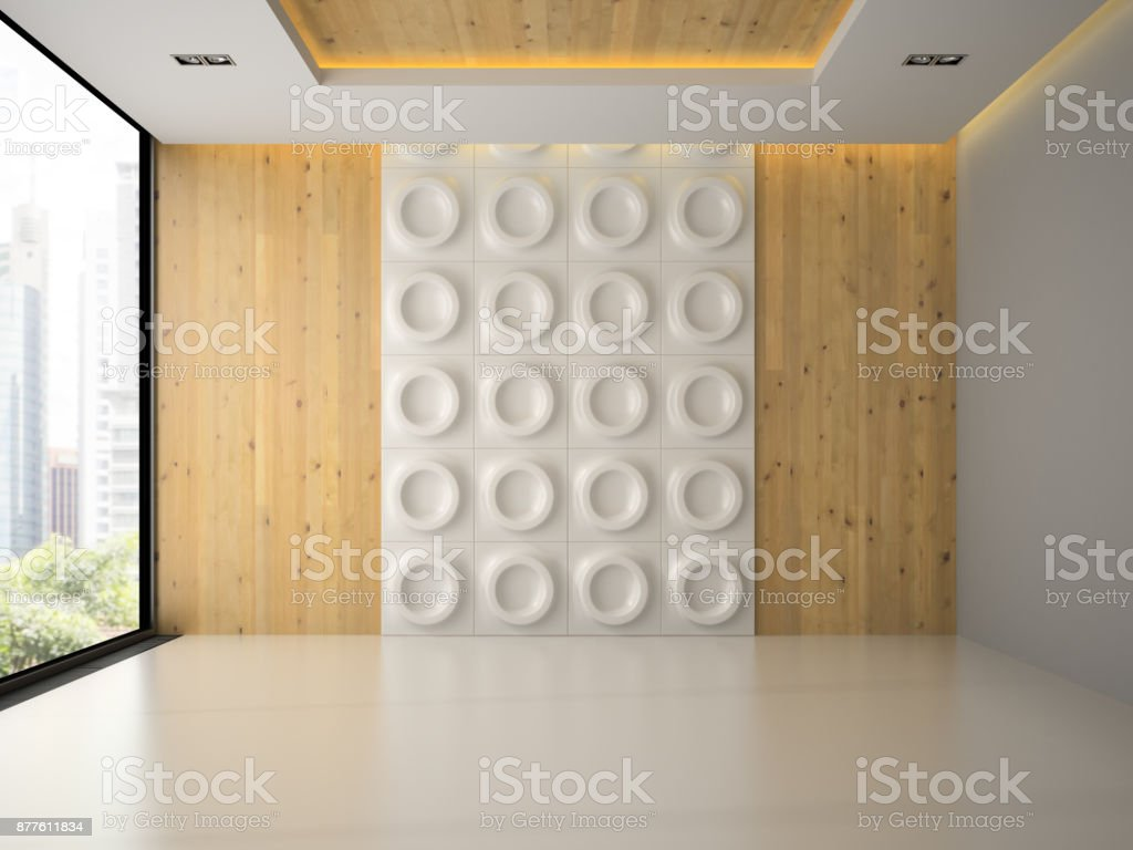 Interior of empty room with wall panel 3D rendering stock photo