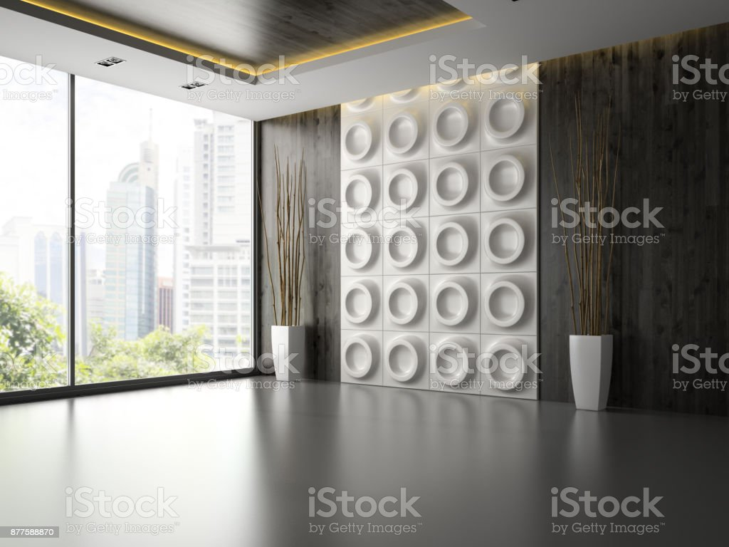 Interior of empty room with wall panel and branches 3D rendering stock photo