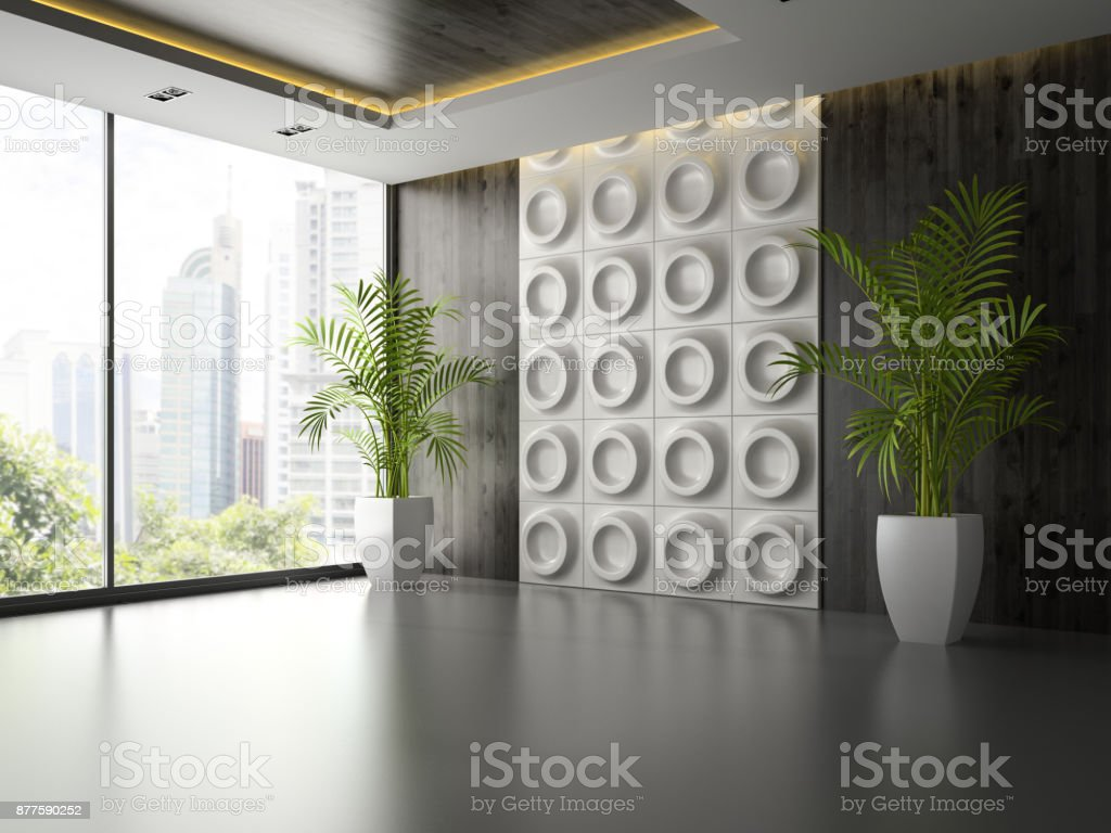 Interior of empty room with wall panel and palm 3D rendering 2 stock photo
