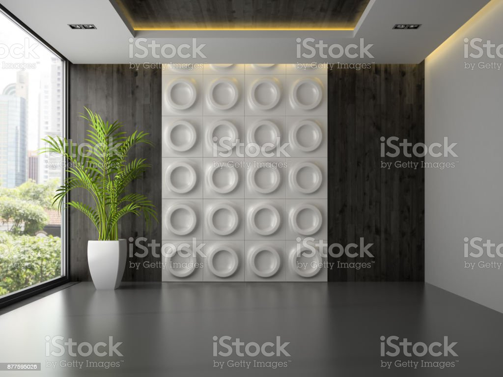 Interior of empty room with wall panel and palm 3D rendering 3 stock photo
