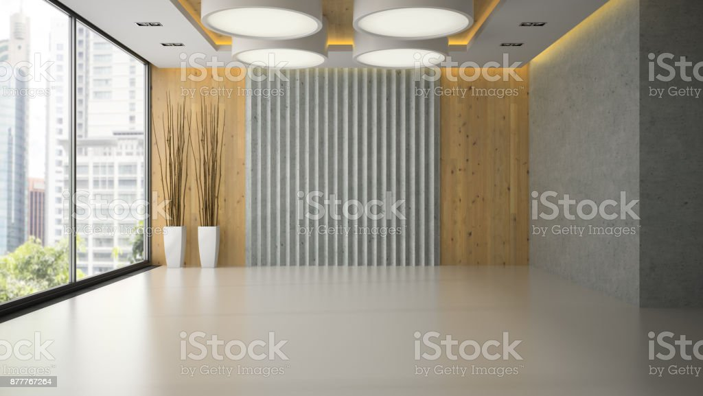 Interior of empty room with wooden wall panel 3D rendering stock photo