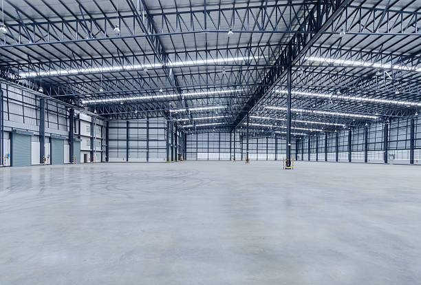 Interior of empty warehouse stock photo