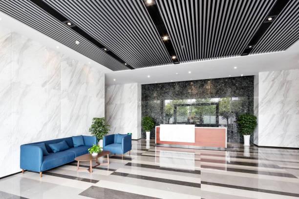 interior of entrance lobby stock photo