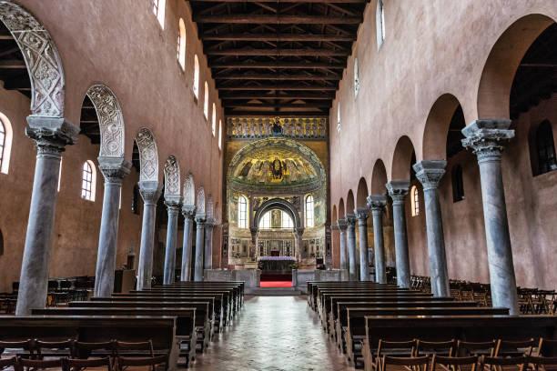 포 렉, 크로아티아에서 Euphrasian 대성당의 내부 스톡 사진