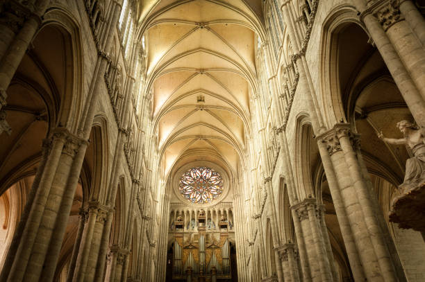 Interior of famous Amiens cathedral stock photo