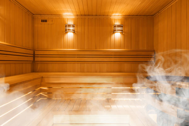 Interior of Finnish sauna, classic wooden sauna Interior of Finnish sauna, classic wooden sauna, Finnish bathroom sauna stock pictures, royalty-free photos & images
