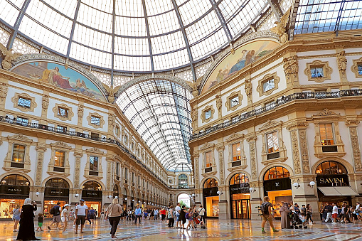 interior of Galleria Vittorio Emanuele in Milano. It's one of the world's oldest shopping malls in Milan city Italy