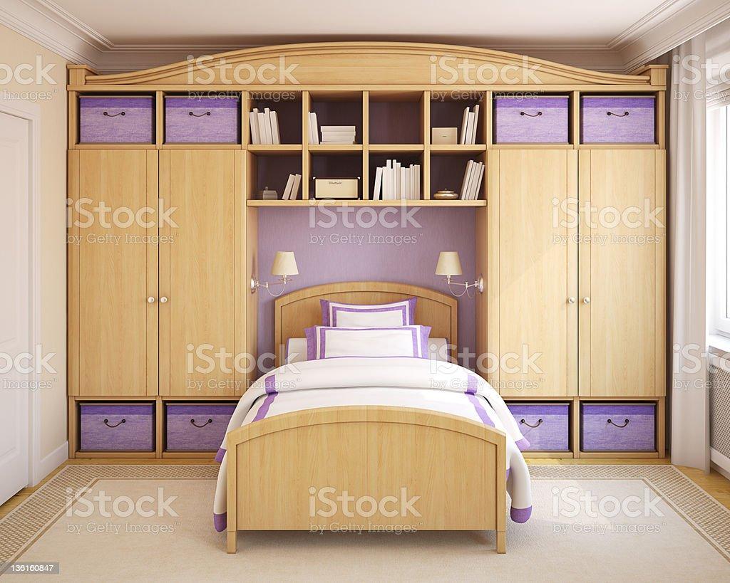 Interior of girl's bedroom. royalty-free stock photo