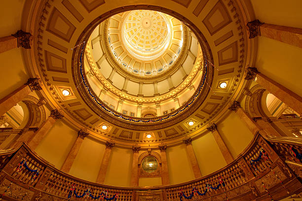 interior of gold dome of colorado state capitol building - colorado state capitol stock photos and pictures