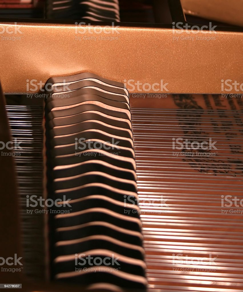 interior of grand piano showing hammers and strings royalty-free stock photo