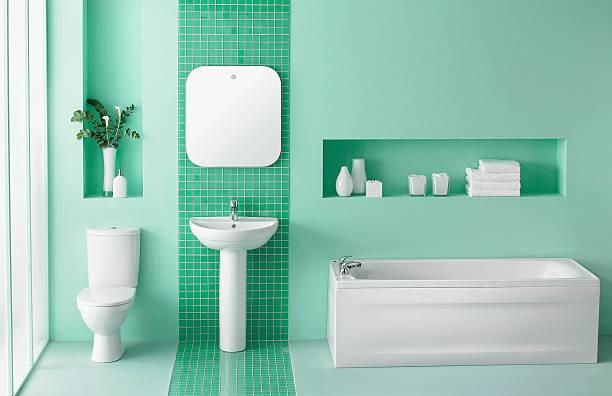 interior do banheiro verde - banheiro estrutura construída - fotografias e filmes do acervo