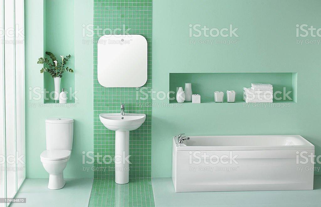 Interior of green bathroom stock photo