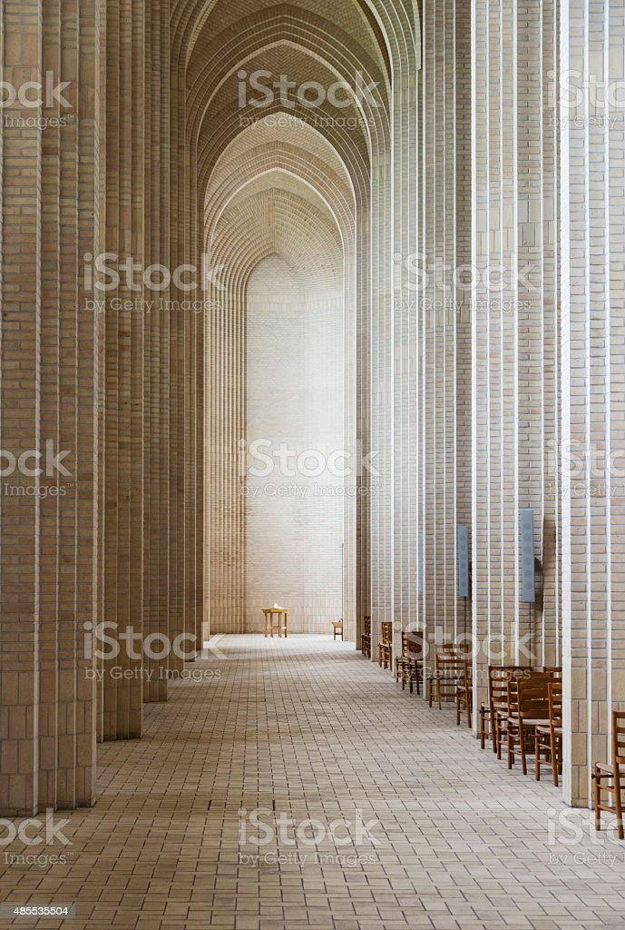 Interior of Grundtvigs Church Bispebjerg Copenhagen stock photo