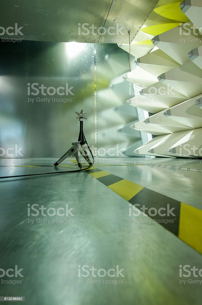 Interior of GTEM cell and probe for electromagnetic compatibility testing stock photo