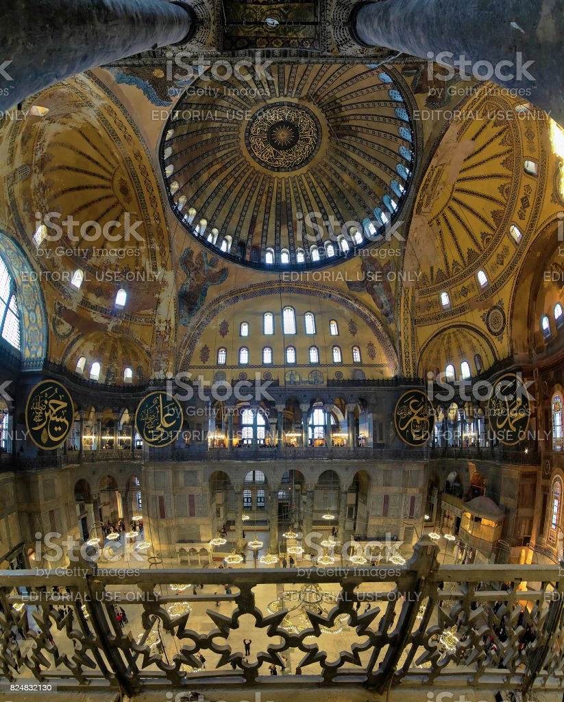 Interior of Hagia Sophia in Istanbul stock photo