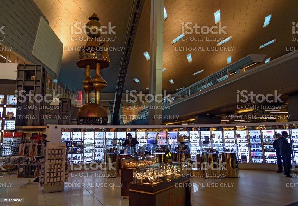 Interior of Hamad International Airport stock photo
