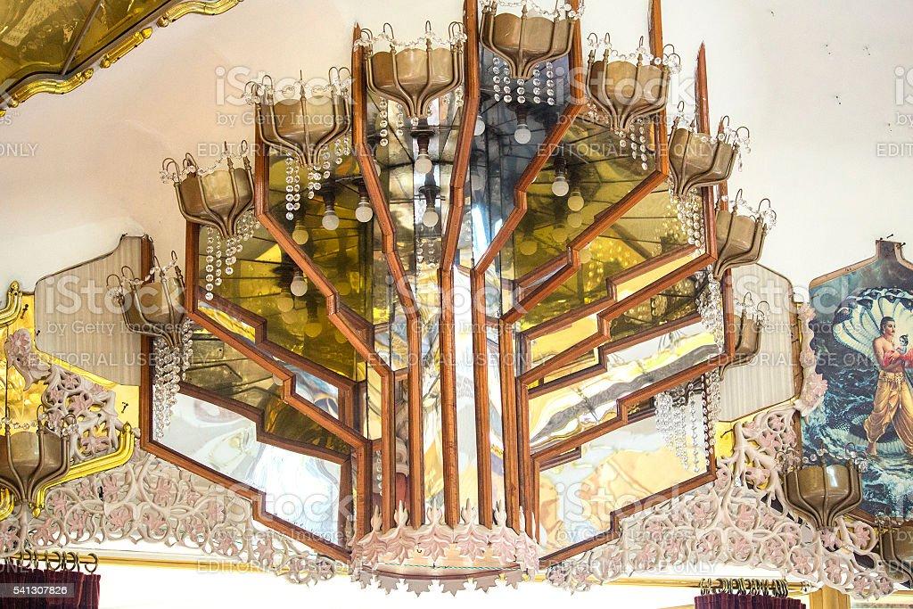 Interior of  Hare  Krishna Temple of Understanding. Ceiling, stock photo