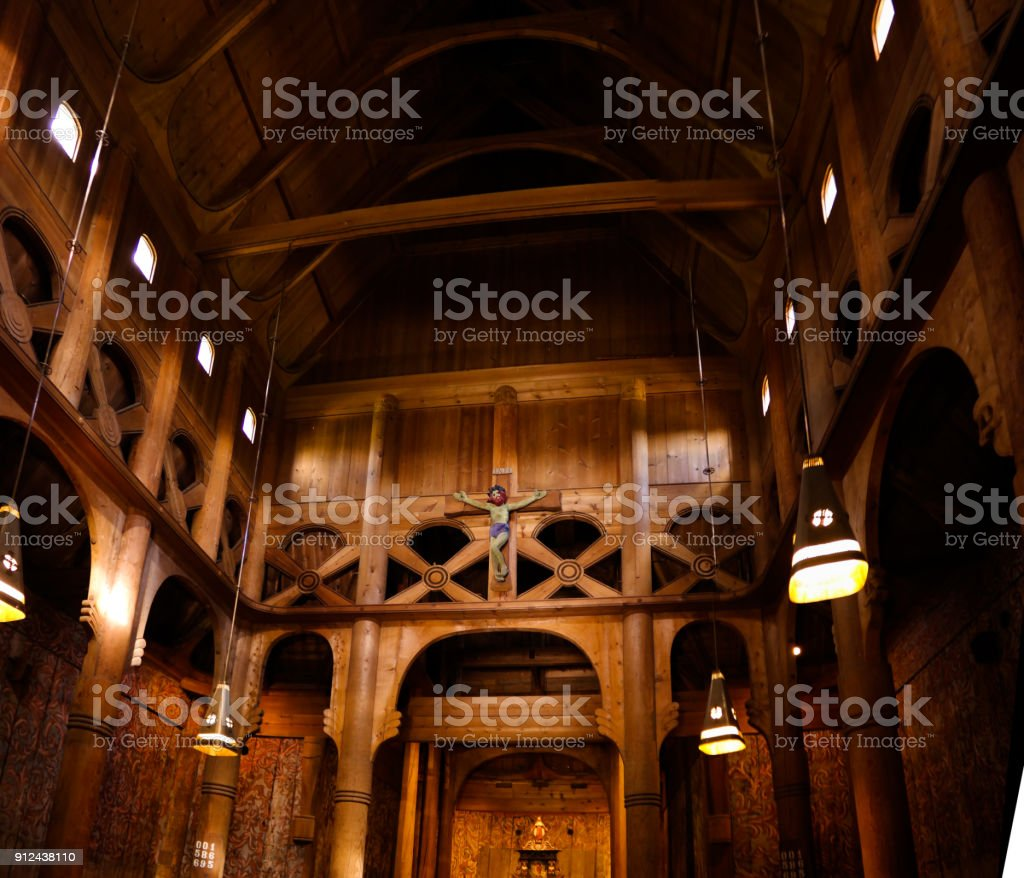 Interior of Heddal Stave Church, Notodden municipality, Norway stock photo