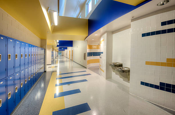 interior of high school - corridor stock photos and pictures