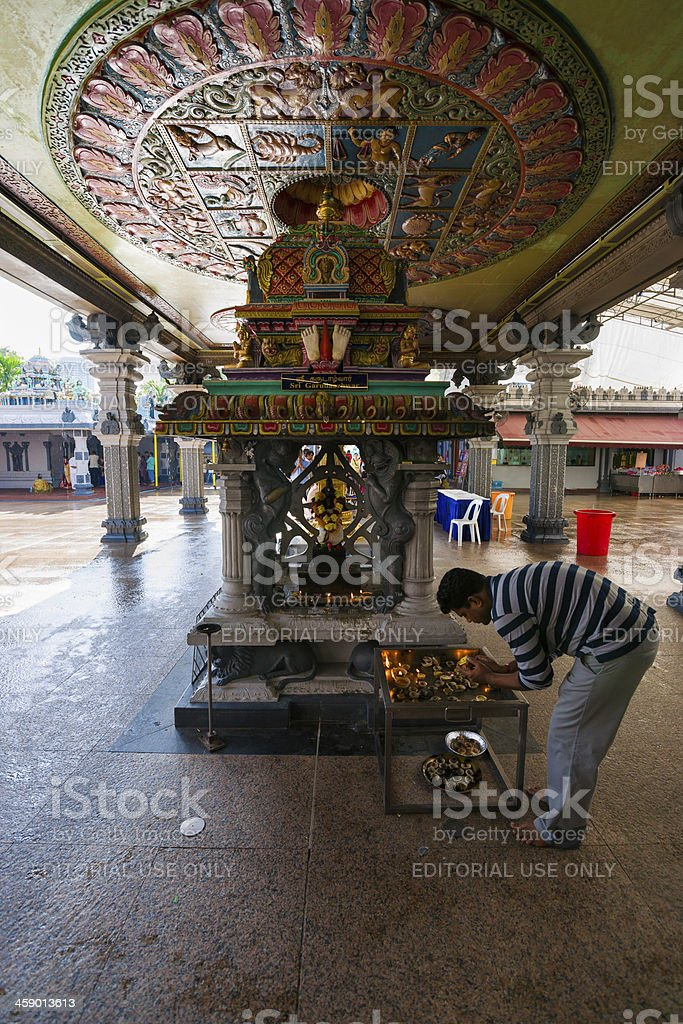 Interior of Hindu Sri Srinivasa Perumal Temple in Singapore City stock photo