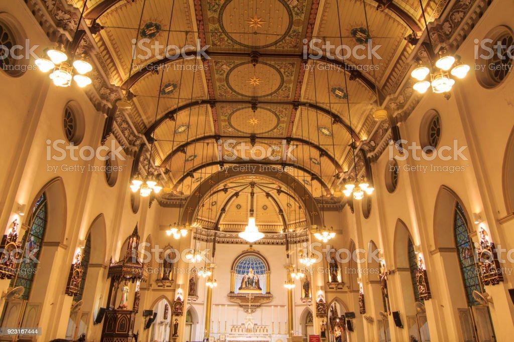 interior of Holy Rosary Church /  Wat Kalwa Church stock photo