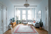 Chrystal chandelier in a splendid baroque room