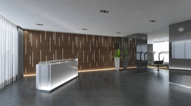 interior of hotel reception hall 3d illustration - hotel reception zdjęcia i obrazy z banku zdjęć