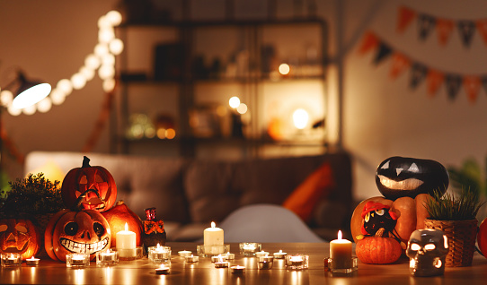 istock interior of house decorated with  holiday of halloween 1054849882