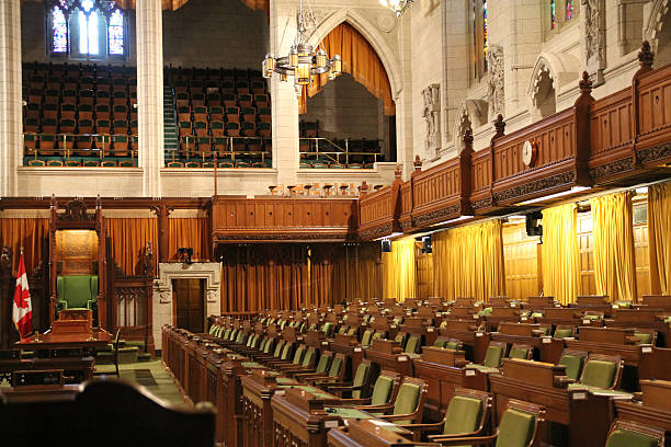 interior of house of commons - canada parliament stock photos and pictures