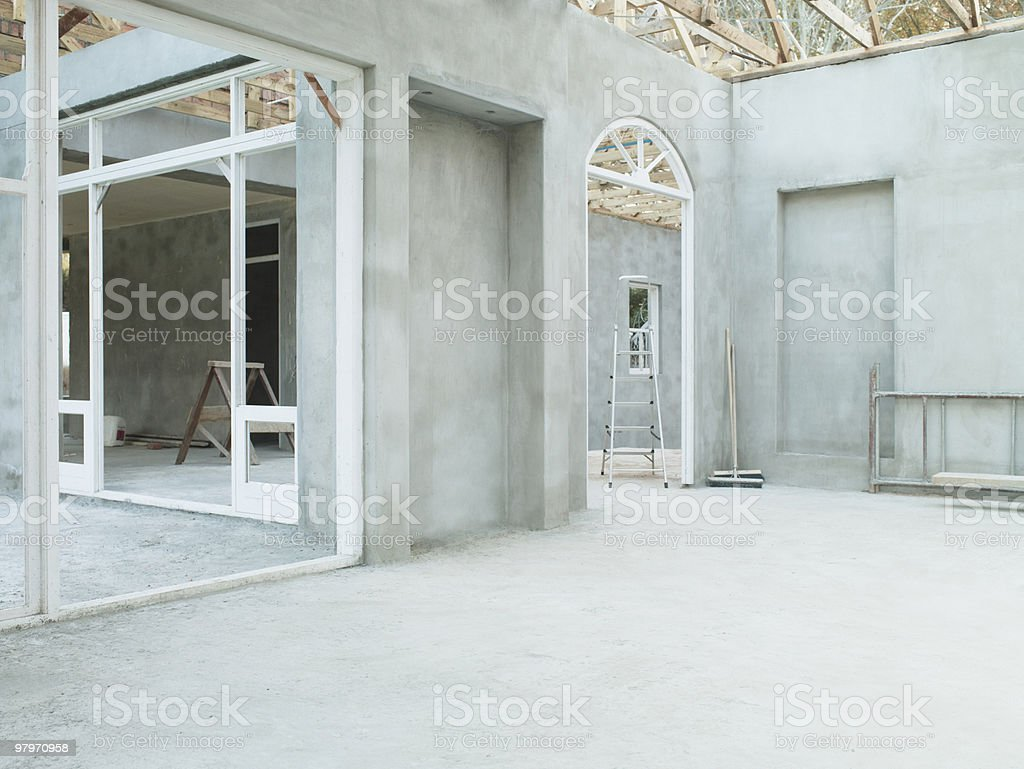 Interior of house under construction stock photo